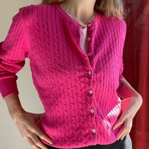 RB SELLARS (12) cable knit cardigan fuchsia